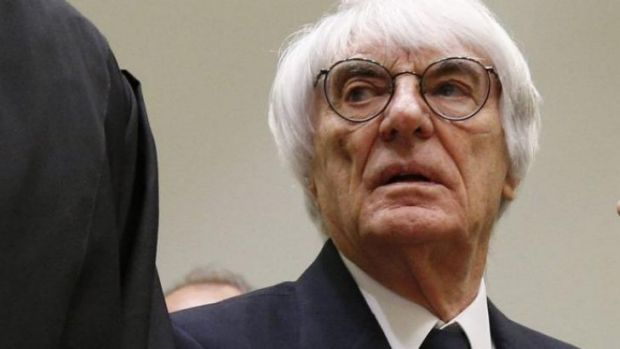 Formula one supremo Bernie Ecclestone arrives at court for his trial in Munich this week.