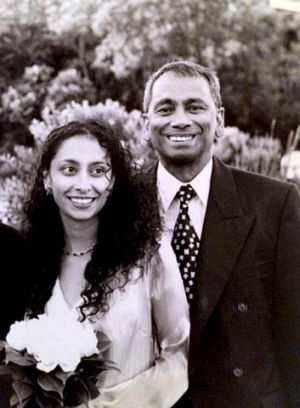 Missed: Michelle Fernando with her father Vincent, who was shot dead by her sister.