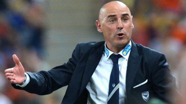 Kevin Muscat looks agitated during the game.