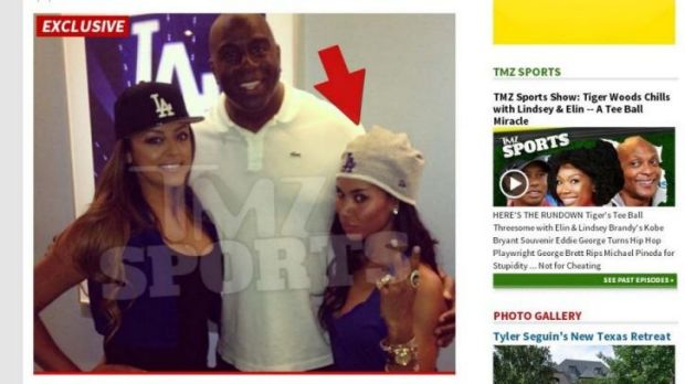 An image from TMZ website with the photo of V. Stiviano with Magic Johnson.