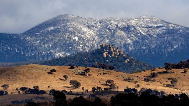 The Brindabellas dusted with snow.
