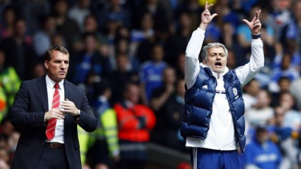 Rivals: Chelsea manager Jose Mourinho and his Liverpool counterpart Brendan Rodgers did not shake hands after the match.