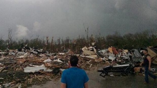Carnage: tornado damage in Mayflower, Arkansas.