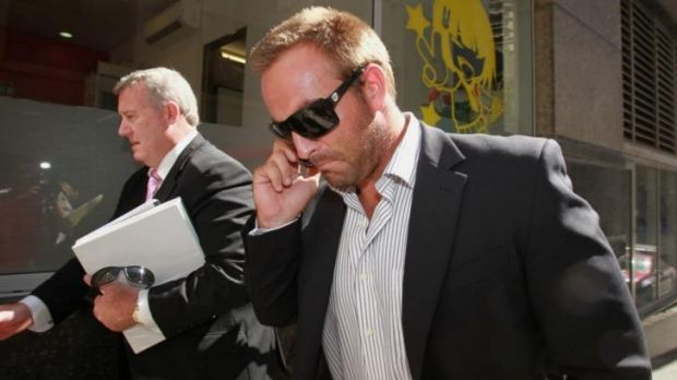 Former NRL player Ryan Tandy leaves City Central Police Station in February 2011.