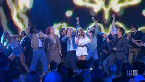 Kylie Minogue performs with dancers at the 2014 Logie Awards on Sunday night.