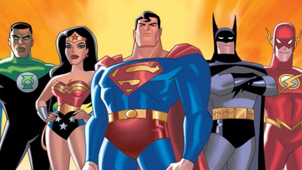 The 'Justice League': Green Lantern, Wonder Woman, Superman, Batman and The Flash among them.
