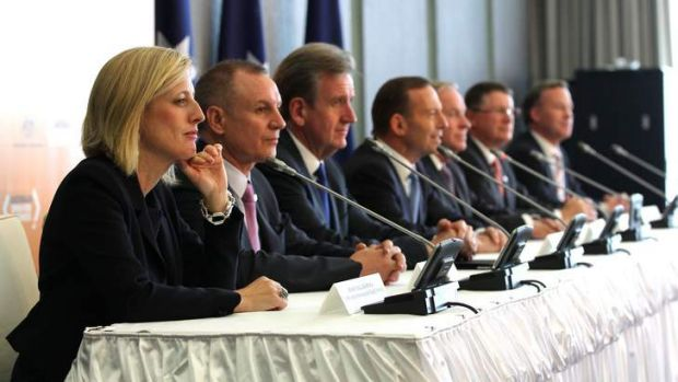 It's boys club: ACT Chief Minister Katy Gallagher, SA Premier Jay Weatherill, NSW Premier Barry O'Farrell, Prime ...