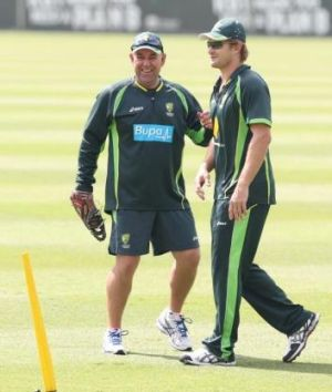 Darren Lehmann and Shane Watson before the final Ashes Test earlier this year.