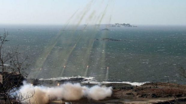 An image released in 2013 of a live shell firing drill conducted by North Korea.