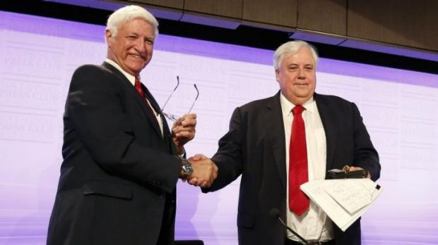 Bob Katter with Clive Palmer in August last year at the National Press Club. Mr Katter says he is open to joining forces ...