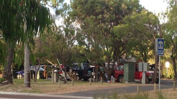 The carpark on Geographe Bay Road has become known as 'shanty town carpark' by locals.