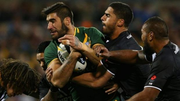 Size matters: James Tamou takes on the Kiwis during the 2013 Anzac Test, but the match is no longer big enough to shield ...
