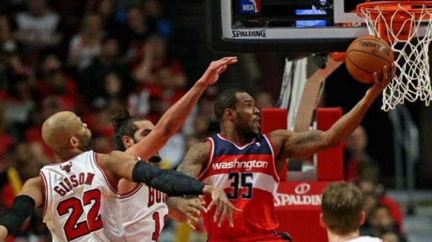 Wizards forward Trevor Booker puts up a shot against Chicago during Washington's game five win over the Bulls.