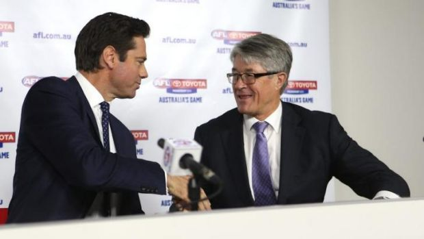 Gillon McLachlan with Mike Fitzpatrick.