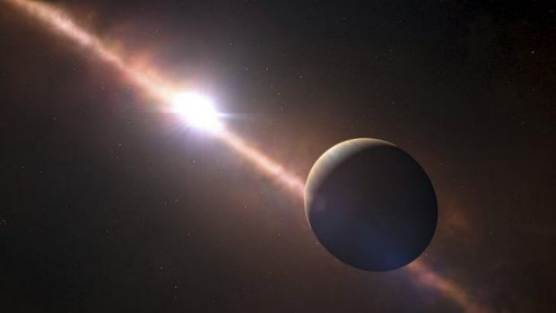 Spinning around: An artist's impression of the planet Beta Pictoris b.