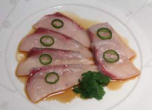 Yellowtail Sashimi with jalapeno.