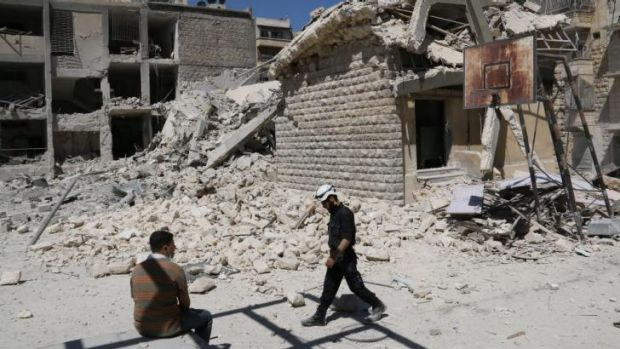 Destruction in the courtyard of school in Aleppo that was heavily damaged.