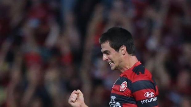 Tomi Juric celebrates a goal against Brisbane Roar last month.
