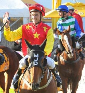Blake Shinn was all smiles aboard Unanimously after the Wagga town Plate on Thursday,