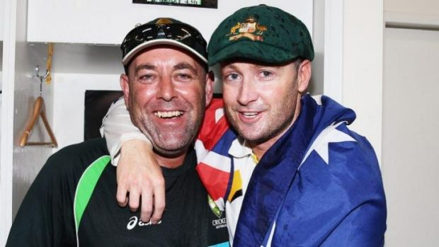 Darren Lehmann and Michael Clarke celebrate.
