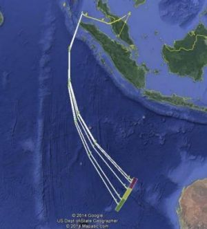 A map provided by Malaysian authorities with the MH370 preliminary report shows the possible flight path of the ...