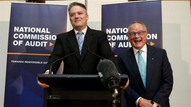 "National Commission of Audit chair Tony Shepherd joins in the laughter as Finance Minister Mathias Cormann says ""I'll be ..."