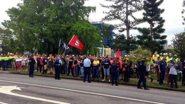 Anti-fascist protesters clash with Australia First Party members in Brisbane.