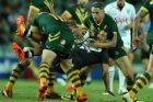 Rugby League Test. Australia vs New Zealand. Allianz Stadium. Shaun Johnson gets tackled Friday 2nd May, 2014 Photos: ...
