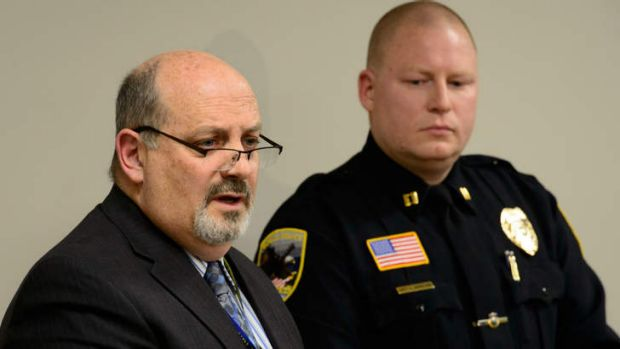 Waseca Police Captain Kris Markeson, right, and Waseca school Superintendent Tom Lee, left, speak at a news conference ...