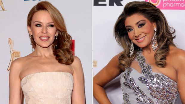 Popular: Kylie Minogue (left) and Gina Liano at the Logies.