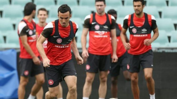 In the frame: Mark Bridge is in line for a shock return to the Wanderers' line-up for Sunday's A-League grand final ...