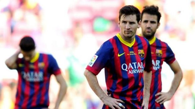 Dejected: Lionel Messi of Barcelona shows his dejection after Angel Latifa of Getafe CF scored his team's second goal.