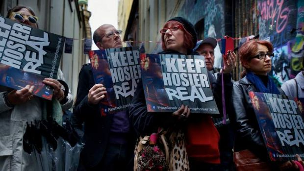 Opponents of a proposed high-rise development in Hosier Lane protest on Sunday.