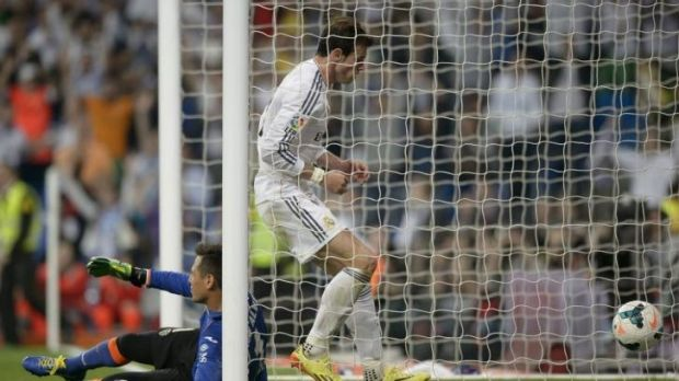 Gareth Bale fetches the ball after Ronaldo's stunner.