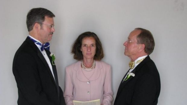 Bishop Gene Robinson (right) and his partner Mark Andrew exchanged vows in a civil union in June 2008. It automatically ...