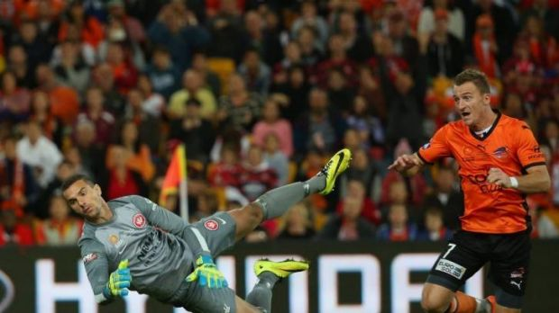 Ante Covic can't stop the Roar's equalising goal by Besart Berisha.