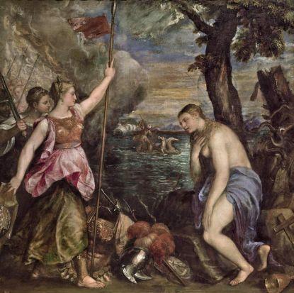 Titian, Italian 1485/90-1576,  Religion succoured by Spain (La Religione soccorsa dalla Spagna), c. 1572-75. Museo ...