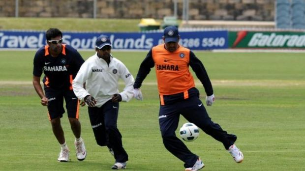 India's cricketer's train with the bigger round ball.
