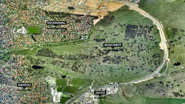 Aerial image of the new suburb of Moncrieff.