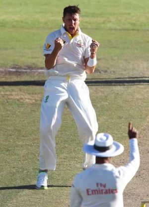 Australia's James Pattinson celebrates the wicket of South Africa's Hashim Amla during the fourth day of the third test ...