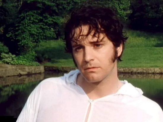 Colin Firth as Mr Darcy in Pride and Prejudice. Wet shirt shot.