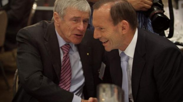 Kerry Stokes with Tony Abbott at a function in Canberra in March.