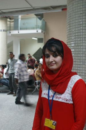 Interpreter Muzghan Aslami, at the Apollo Hospital in Delhi, works with some of the thousands of Afghans who come to ...