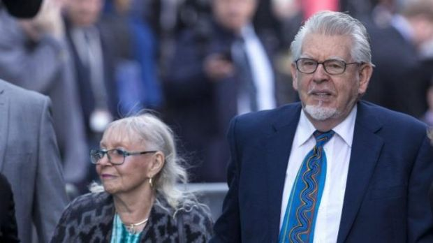 Rolf Harris and his wife Alwen Hughes arrive at Southwark Crown Court.