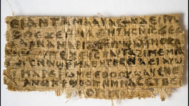 """a scrap of papyrus known as the """"Gospel of Jesus' Wife""""."""