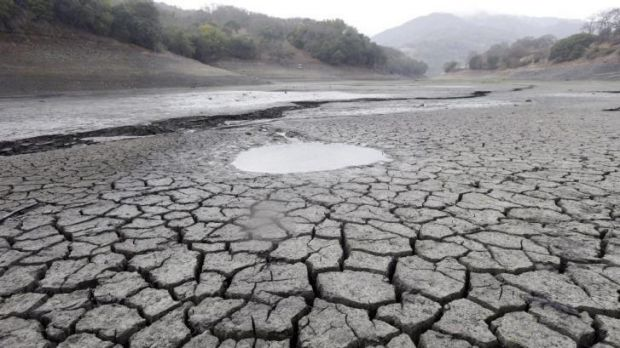 Continuing drought ... the cracked-dry bed of the Almaden Reservoir in San Jose, California on February 7, 2014.
