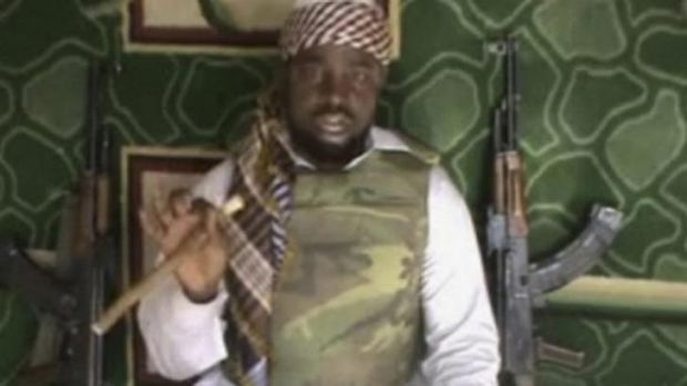 The leader of the radical Nigerian Islamist sect Abubakar Shekau, taken from a video.