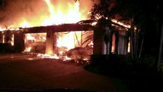 Flames engulf the Florida mansion owned by former tennis star James Blake.