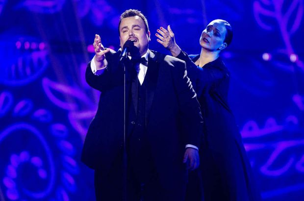 "Axel Hirsoux (L) representing Belgium sing ""Mother"" at Eurovision Village as part of Eurovision 2014, on May 6, 2014 in ..."