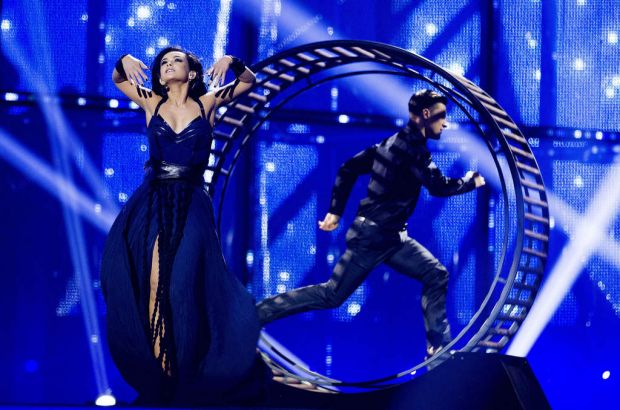 Marija Jaremtjuk representing Ukraine performs during the first semi-final at Eurovision Village as part of Eurovision ...